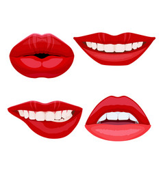 set of bite lips with dental smile sexy ideal vector image