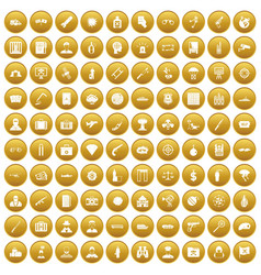 100 antiterrorism icons set gold vector