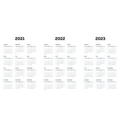 2021 2022 2023 calendar template with vertical vector