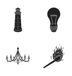 A lighthouse an incandescent lamp a chandelier vector