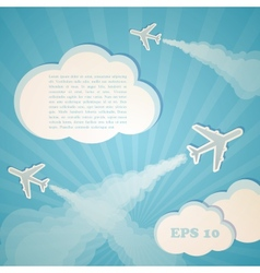 abstract blue background with planes and clouds vector image