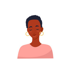African woman with short haircut with closed eyes vector