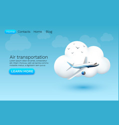 air transportation banner cloud icon web vector image