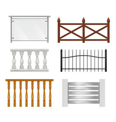 architectural railing wooden metal plastic or vector image