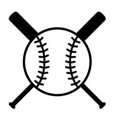 baseball bats and ball or baseball tournament icon vector image