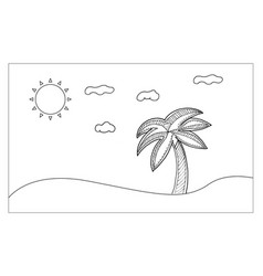 beach line art for painting and imagine nutural vector image