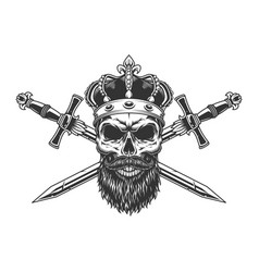 Bearded and mustached skull in crown vector