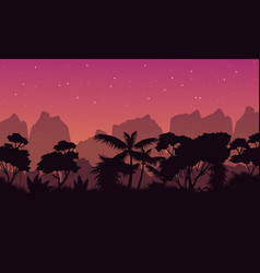 Beauty landscape rain forest with tree silhouette vector