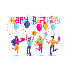 birthday people set group happy people vector image