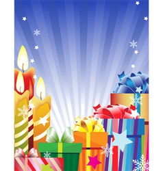 Burning candles and bright gift boxes vector