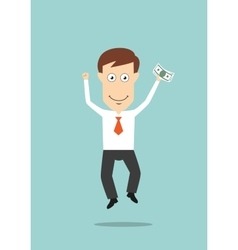 Businessman jumping with money in hand vector image