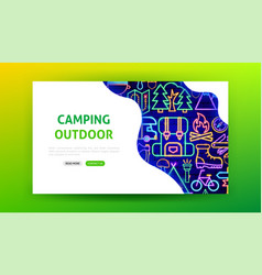 camping outdoor neon landing page vector image