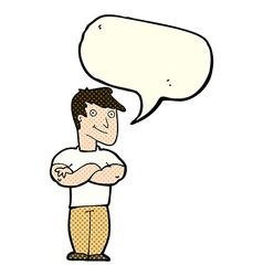 cartoon muscular man with speech bubble vector image