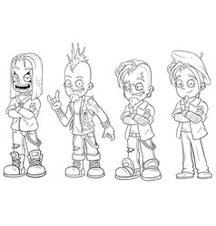 cartoon punk rock metal guys character set vector image