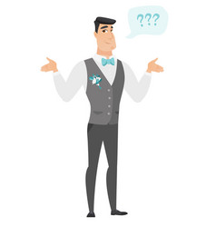 caucasian confused groom with spread arms vector image