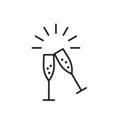 Champagne glasses icons wedding toasting wine vector