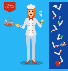chef woman character with kitchenware and food vector image
