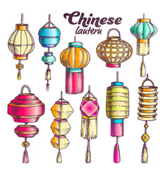 Chinese lantern in different shapes set color vector
