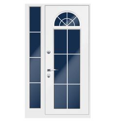 Classic white double entrance door vector