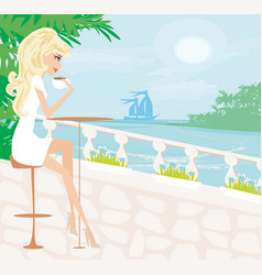 coffee shop in a summer seaside resort vector image