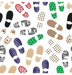Color human shoes footprint various sole seamless vector
