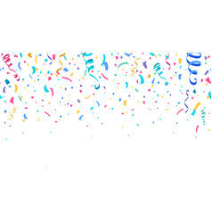 Colorful confetti and serpentine ribbons falling vector