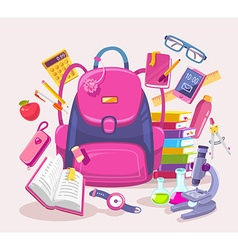 Colorful of big girl pink backpack pile of vector