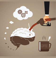 concept of vigorous mind with coffee or caffeine vector image