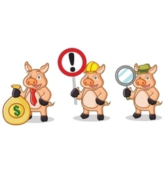 Cream Pig Mascot with sign vector image