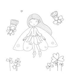 Cute little fairy princess and wood elves vector
