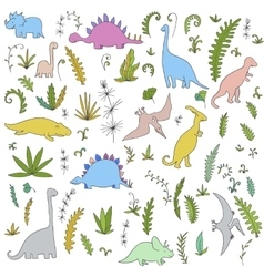 Dinosaurs and prehistoric plants set vector