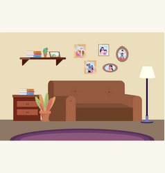 Diving room with sofa and family pictures vector
