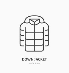 down jacket flat line icon cold weather clothing vector image