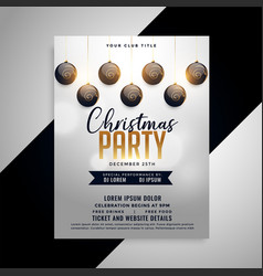 elegant christmas party flyer design template vector image