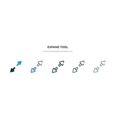 Expand tool icon in different style two colored vector