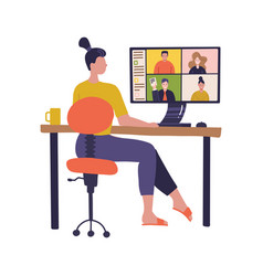 Female worker using computer for collective vector