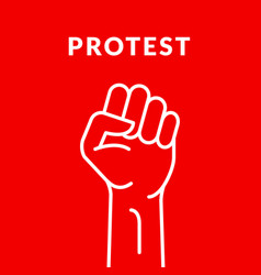 Fist hand power logo protest strong fist raised vector
