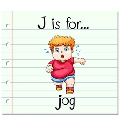 Flashcard letter J is for jog vector
