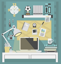 Flat modern and stylish teal working place vector