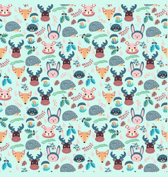forest seamless pattern with cute animals fox vector image
