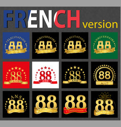 French set of number 88 templates vector