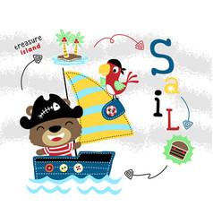 Funny bear sailors cartoon on travel to treasure vector