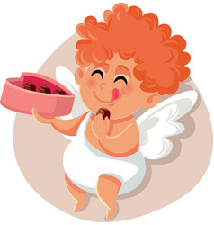 Funny cupid eating chocolate pralines from heart vector