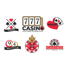 Gambling poster casino and poker logotypes on vector