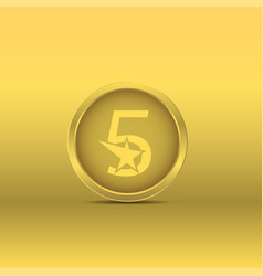 golden five stars icon vector image
