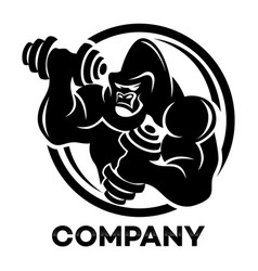 gorilla athlete with dumbbells logo vector image