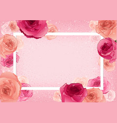 Greeting card with roses on pastel pink background vector