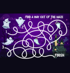 Halloween kids labyrinth maze game with ghosts vector