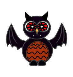 Halloween owl bat art face isolate on white vector