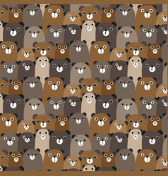 Hand drawn bears pattern background vector